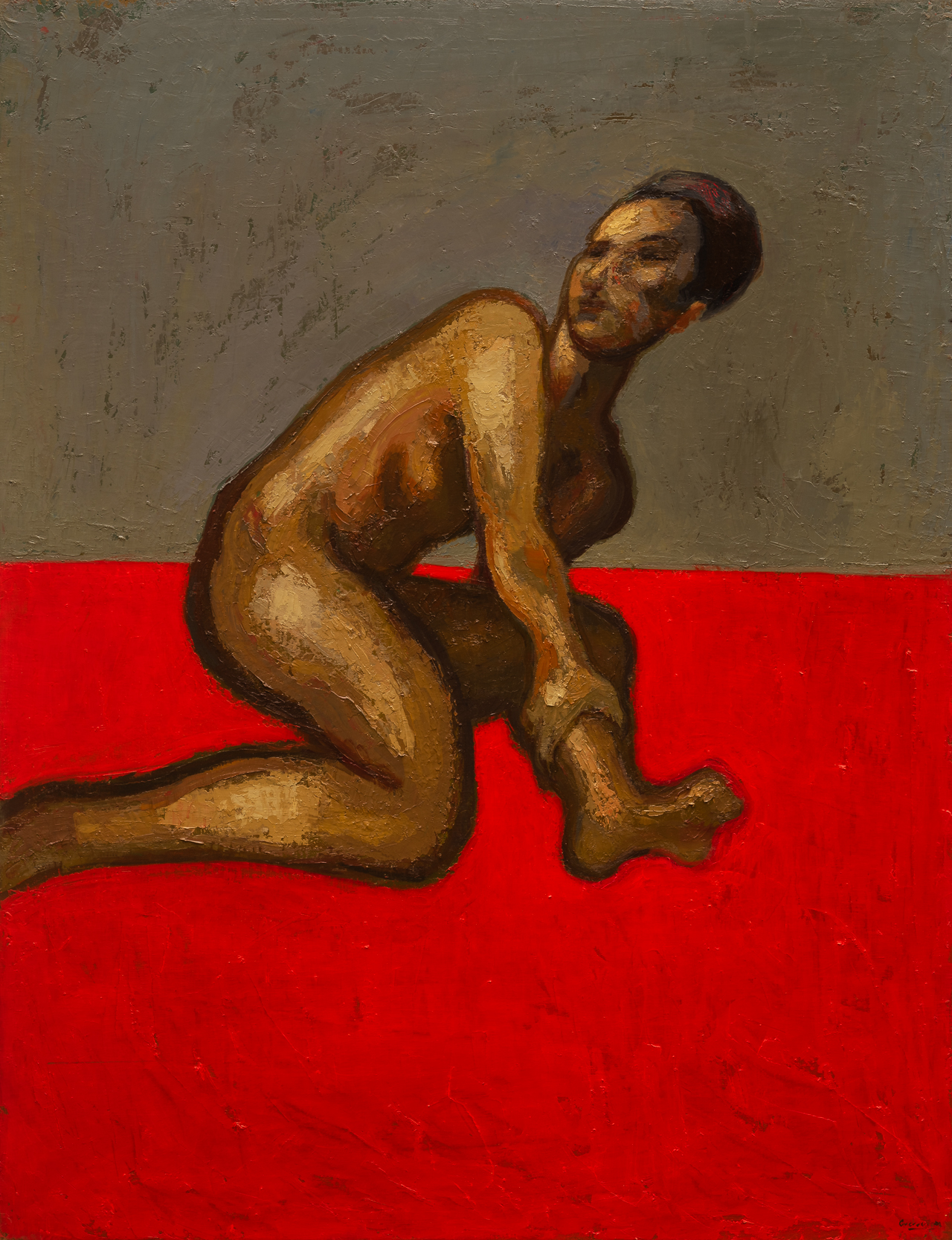 Oil on canvas painting from the Red series, by spanish artist Jose Maria Guerrero Medina