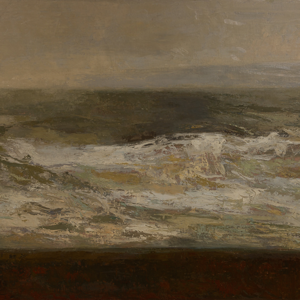 Seascape painting, oil on canvas by Guerrero Medina